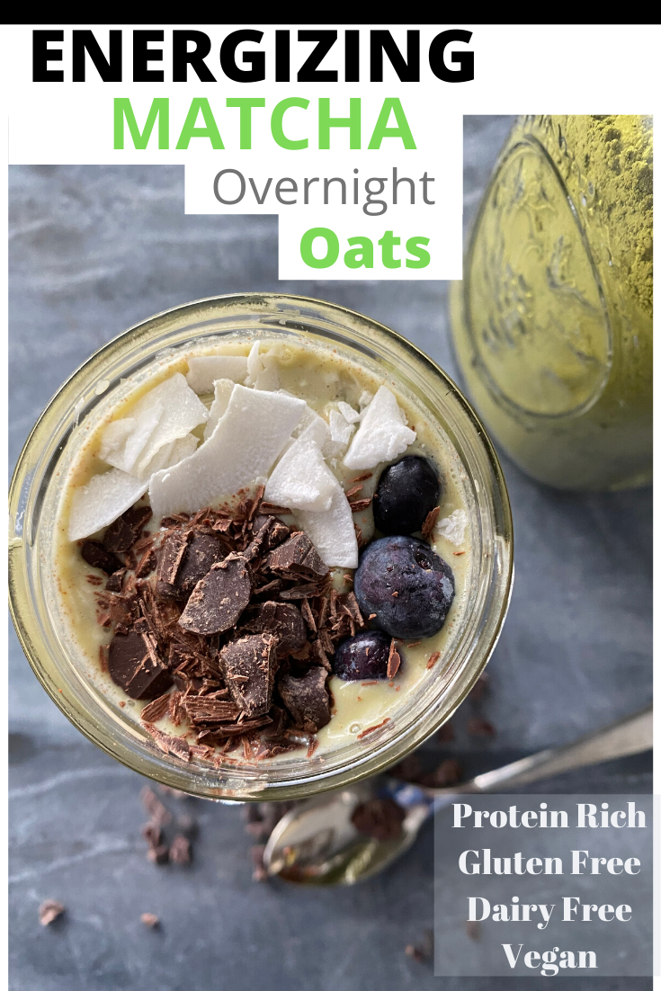 Make-ahead easy and healthy breakfast! These matcha overnight oats are High in Protein, Vegan + Gluten-free + Dairy-free. With a clean caffeine boost from matcha green tea!