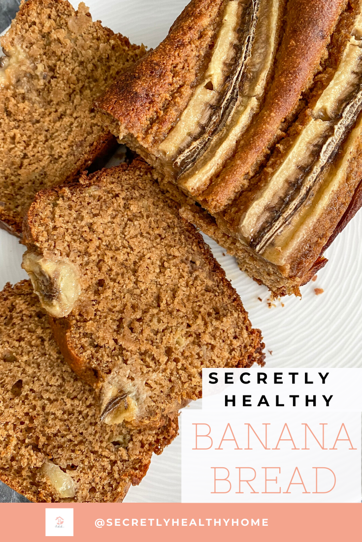 Shhh...don't tell your guests, but there are no refined sugars or flours in this banana bread. Completely Gluten-free + Oil-free too! Melts in your mouth! Take those browning bananas off your counter and turn them into this beautiful secretly healthy snack.