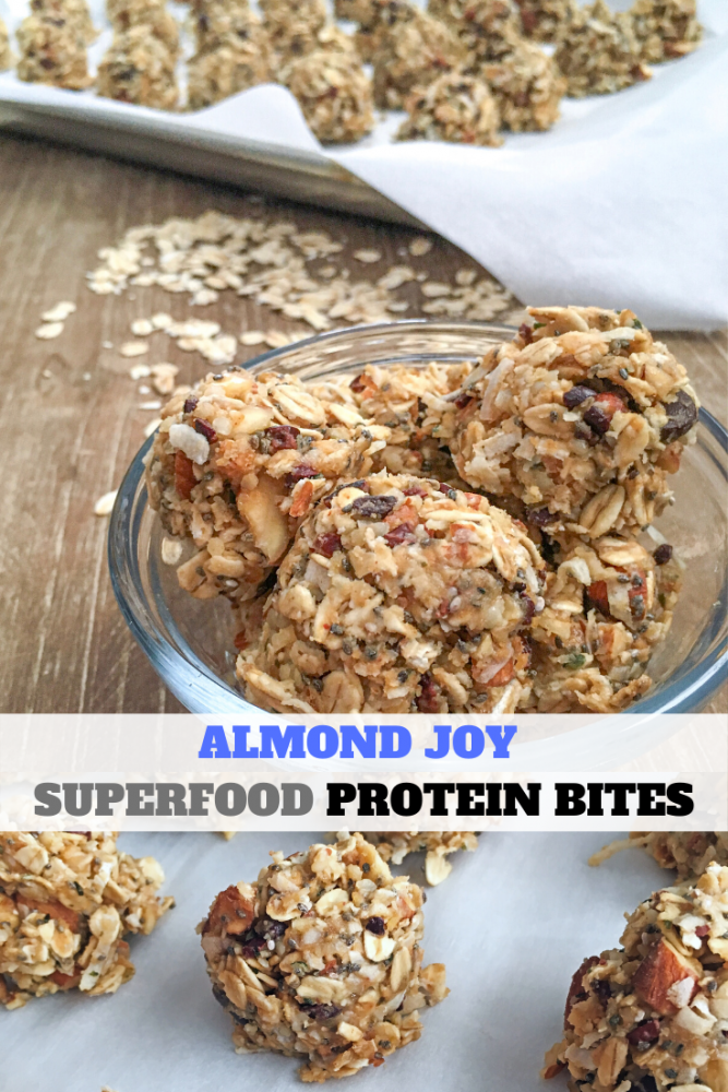 superfood almond joy protein bites