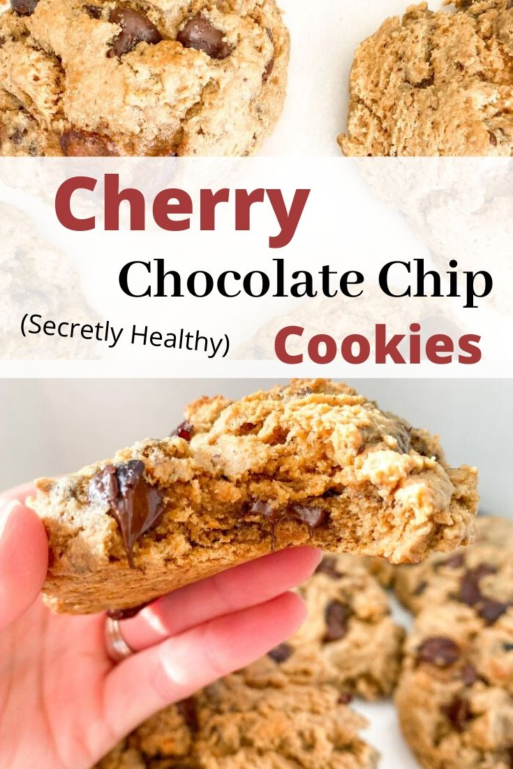 20 minutes · Vegetarian · Makes 8 Large Cookies · Looking for a fresh cherry dessert? These cookies are easy to make and super soft! They are the best chocolate chip cherry cookies I've ever had and they are actually healthy! Dairy-free! The perfect healthy cherry recipe! #shhfam #healthycookies #refinedsugarfree #softcookies #cherryrecipes