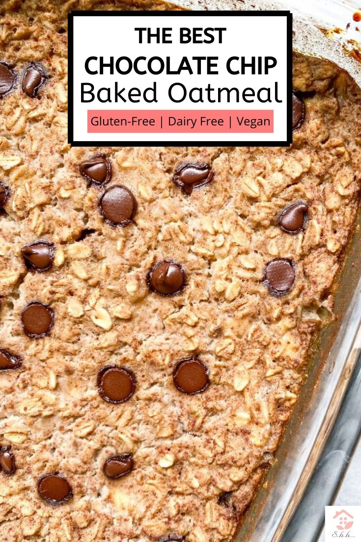 This Healthy Chocolate Chip Cookie Baked Oatmeal only takes one dish and 5 minutes to make! No mixing bowl required! Vegan + Gluten-free and packed with protein! Sweetened with banana and a little maple syrup. You will love this easy meal prep breakfast!