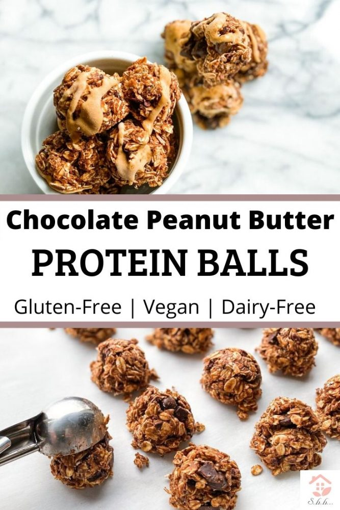 Chocolate Peanut butter protein balls pinterest pin