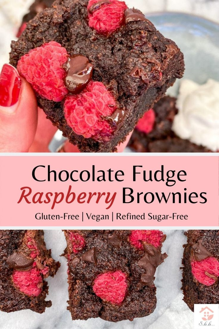 These Healthier Raspberry Brownies are gluten-free, vegan and refined sugar-free! An amazingly decadent chocolate dessert you can feel good about eating! Seriously the best Valentine's day treat! #alergyfriendly #glutenfree #valentinesday #healthybrownies #veganbrownies
