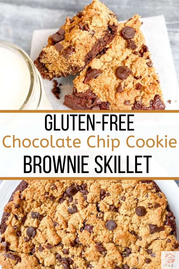 This Chocolate Chip Cookie Brownie Skillet (brookie) will change your life! This healthy dessert cake is layered with a fudgy brownie bottom and topped with gluten-free chocolate chip cookie! This recipe is refined sugar free, dairy-free, gluten-free, and has a vegan option! A clean eating dessert that is easy to make and perfect for dessert prepping for the week! You'll never want the unhealthy version again after tasting this one… #cookieskillet #brookies #brownieskillet #glutenfreedessert