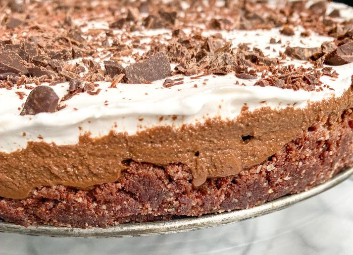 Healthy Chocolate Mousse Cake 3 layers