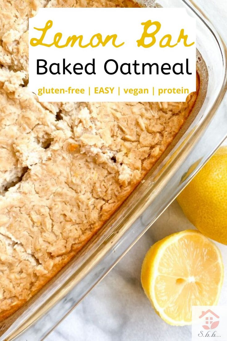This Lemon Bar Baked Oatmeal is the perfect healthy lemon recipe! It's so easy to make. You only need the baking dish, that's it! It's gluten-free, vegan, and sweetened with bananas and honey. Only 133 calories per square and 6.9 grams of protein! If you love lemon bars, you're going to love this clean eating breakfast! Also, lovely with the addition of blueberry! #bakedoatmeal #healthybreakfast #mealprep #lemonrecipes