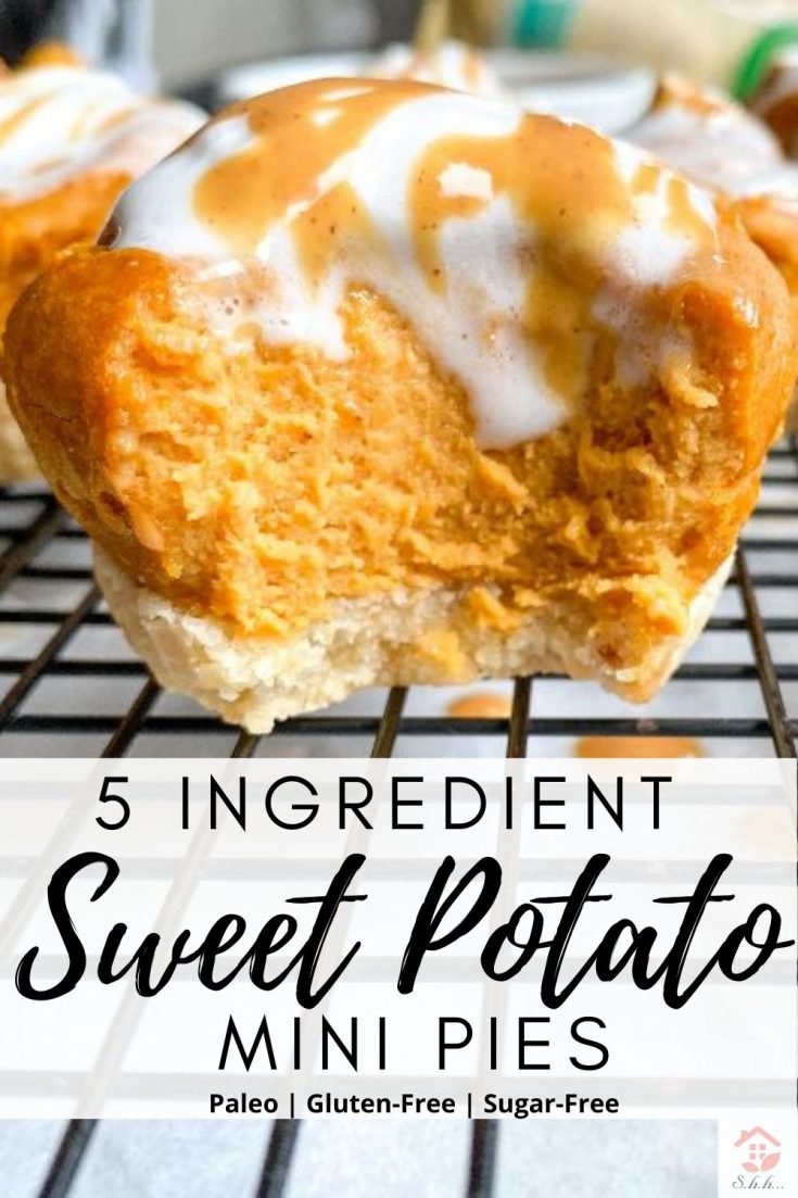 This Mini Sweet Potato Pie recipe is so easy and tasty! You only need 5 simple ingredients for the best creamy sweet potato pie filling. They're made in muffin tins for the perfect individual size. Dairy-free, gluten-free, refined sugar-free, paleo and can easily be made vegan and sugar-free! Make these homemade pies crustless too! #sweetpotatorecipes #sweetpotatopie #paleodesserts #minipies