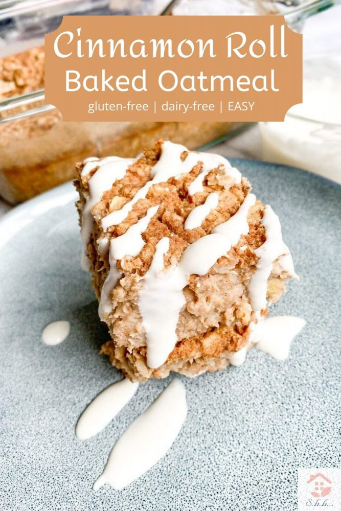 cinnamon roll vegan baked oatmeal pinterest pin