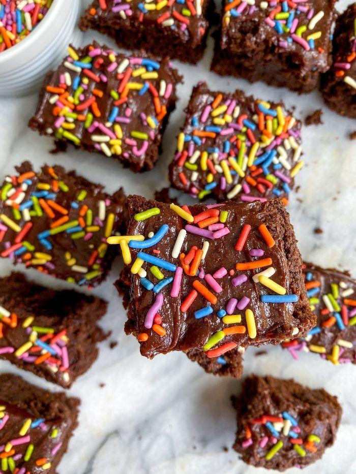 fudge brownies with sprinkles
