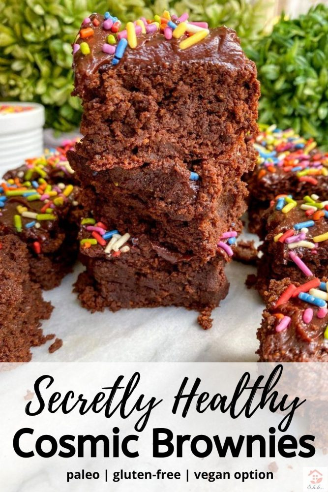 healthy cosmic brownies recipe pinterest pin