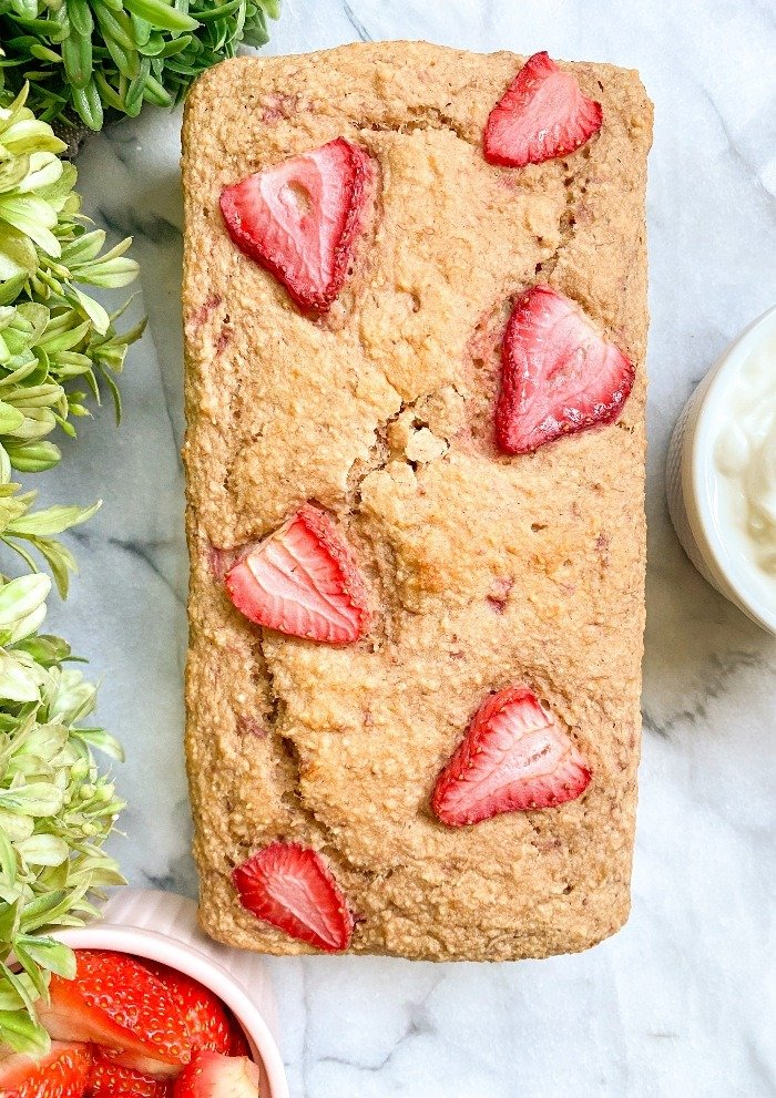 healthy strawberry banana bread