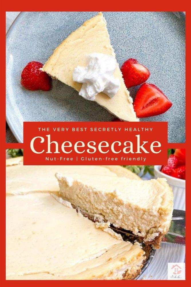 healthy greek yogurt cheesecake pinterest pin image