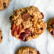 Chewy Healthy Trail Mix Cookies (GF + Vegan)