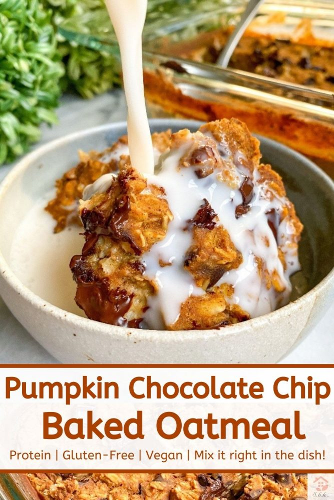 healthy pumpkin baked oatmeal with milk pinterest image