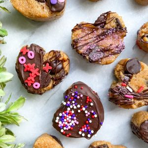 Protein cookie dough hearts