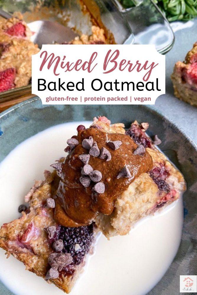 berry baked oats pinterest image