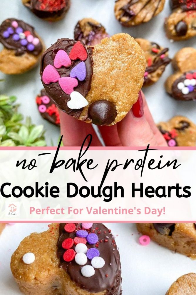 protein cookie dough hearts pinterest pin