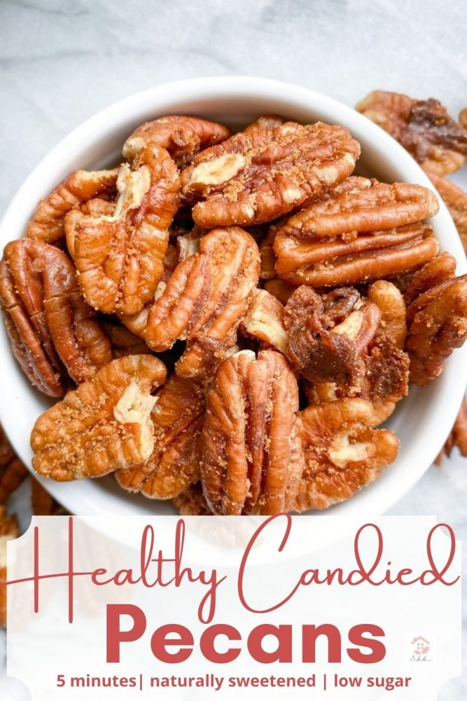 healthy candied pecans pinterest image