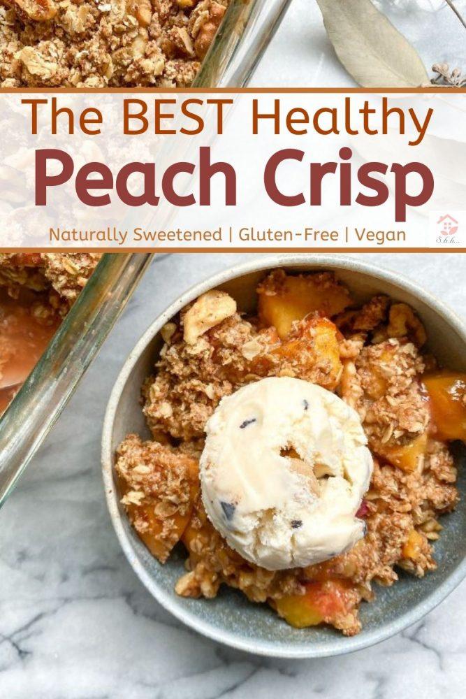 healthy peach crisp pinterest image