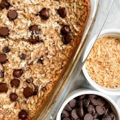Chocolate Chip Coconut Baked Oatmeal (Quick + Healthy)
